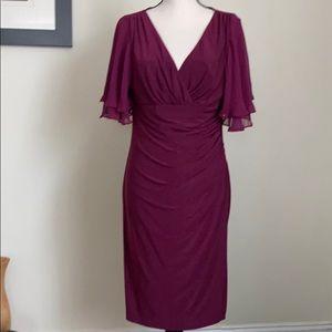 NWT Lauren Ralph Lauren Purple Midi Dress Size 12